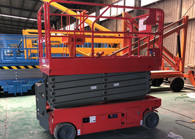 Electric Driven Scissor Lift Scaffolding Orange Battery Short Chargeable Time