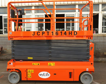China Steel Self Propelled Aerial Work Platform Lift Height 13.7m With Emergency Stop Button factory