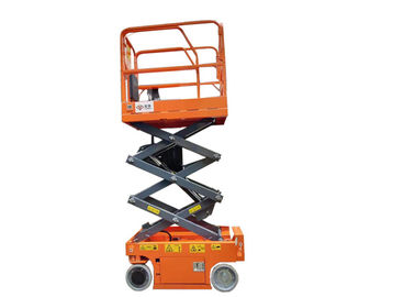 China Hydraulic Mobile Mini Scissor Lift Self Propelled Steel Material 240KG Safety Load factory